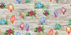 "Stitch & Sparkle Melody Garden-Abloom Birds 100% Cotton Fabric 44"" Wide, Quilt Crafts Cut by The Yard"