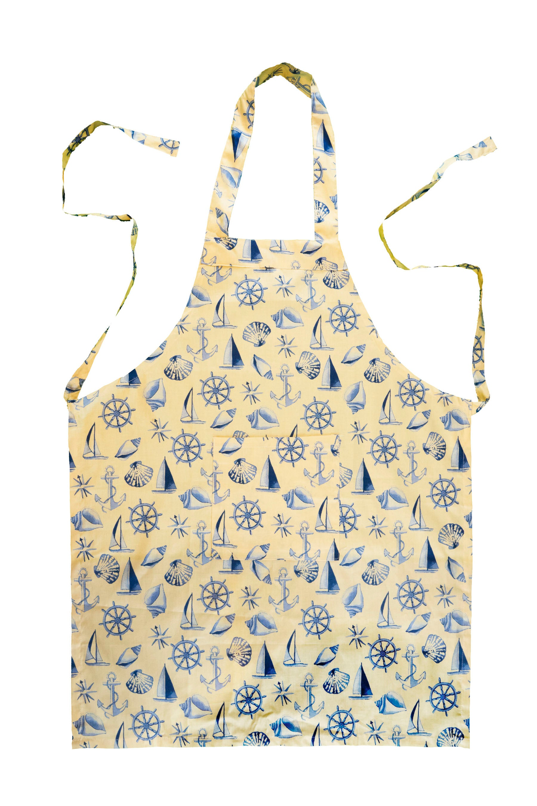 Stitch & Sparkle APRON with pocket, 100% Cotton, Nautical, Shell Beige,  One Size Fix For All