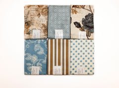"Stitch & Sparkle 6 pcs 18"" by 21"" Fat Quarter Bundle, Aviary-Beige,  Quilt, Crafts, Sewing"
