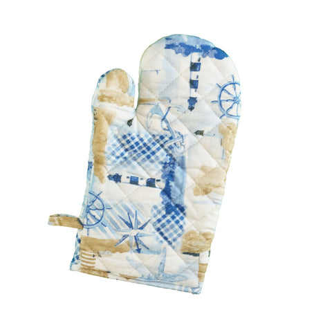 Stitch & Sparkle OVEN MITT 1 Piece Pack, Heat Resistant, 100% Cotton, Nautical, Lighthouse Beige