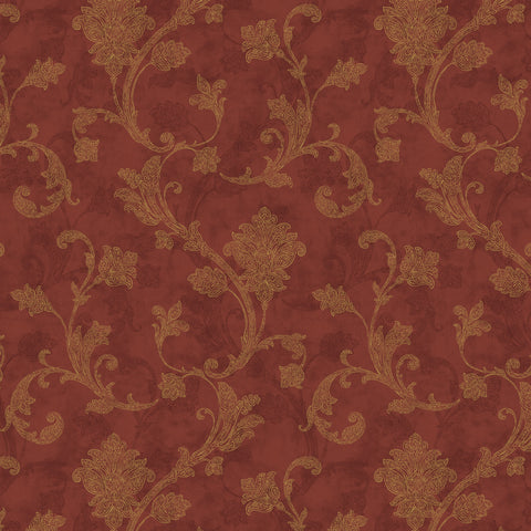 54'' Cotton Duck Canvas Jacobean Scroll Red