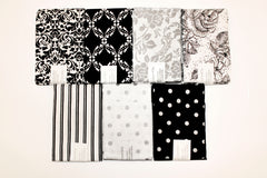 "Stitch & Sparkle 7 pcs 18"" by 21"" Fat Quarter Bundle, Dark Romance Silver Metallic,  Quilt, Crafts, Sewing"