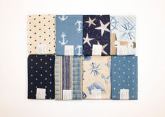 "Stitch & Sparkle 8 pcs 18"" by 21"" Fat Quarter Bundle, Nautical,  Quilt, Crafts, Sewing"