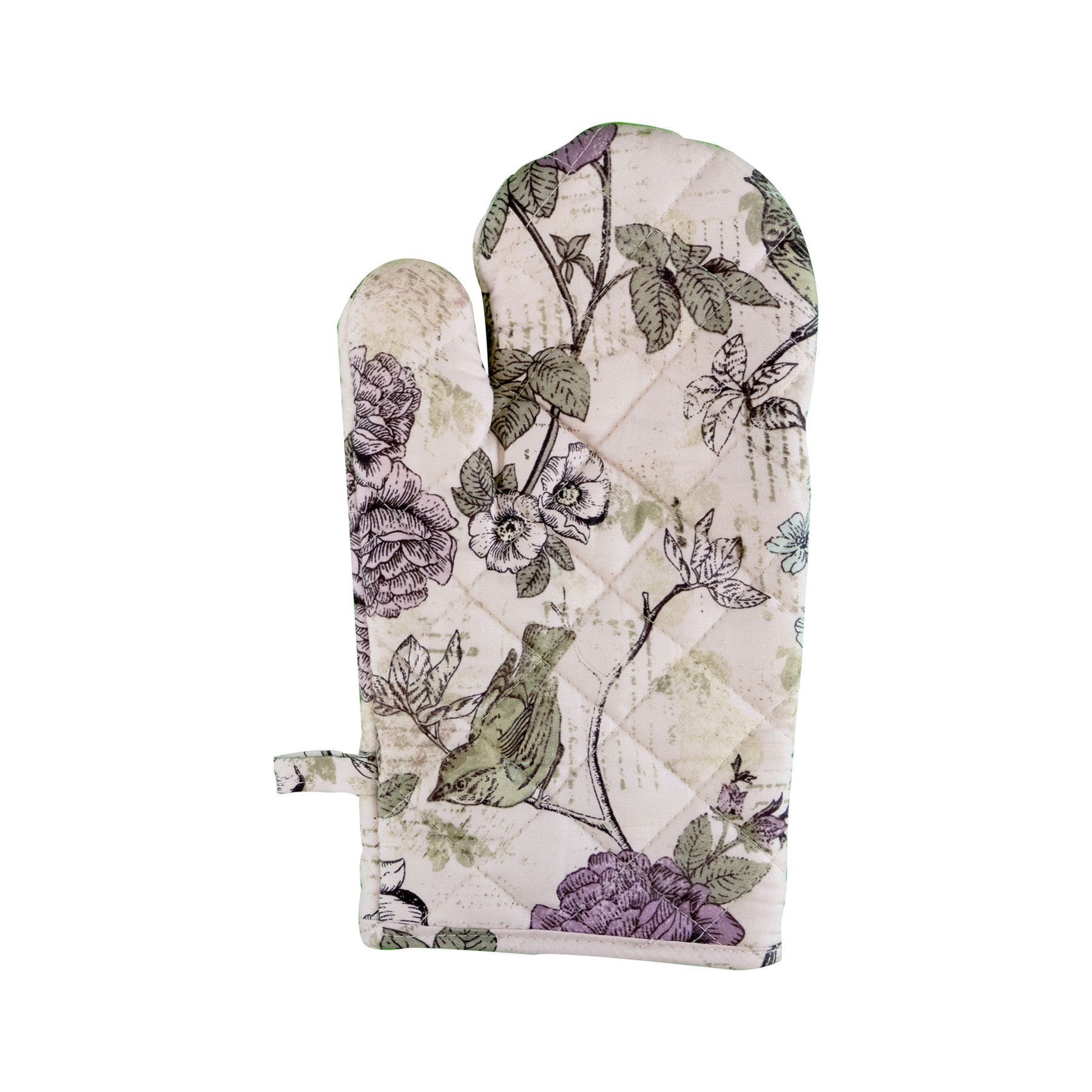 Stitch & Sparkle OVEN MITT 1 Piece Pack, Heat Resistant, 100% Cotton, Aviary, Words Bird Lavender