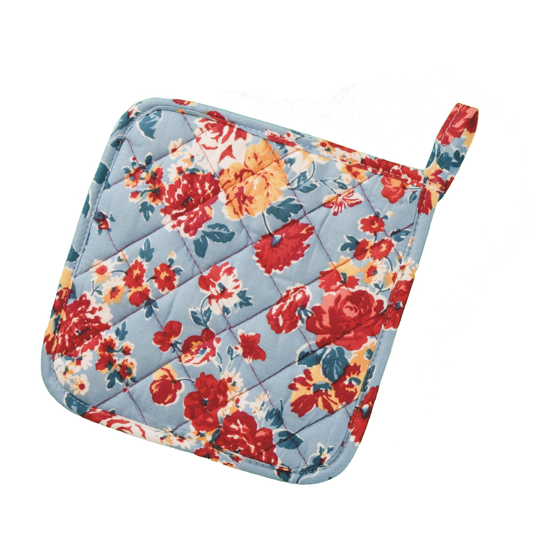 Stitch & Sparkle POT HOLDER 1 Piece Pack, Heat Resistant, 100% Cotton, Vintage, Rose Cerulean