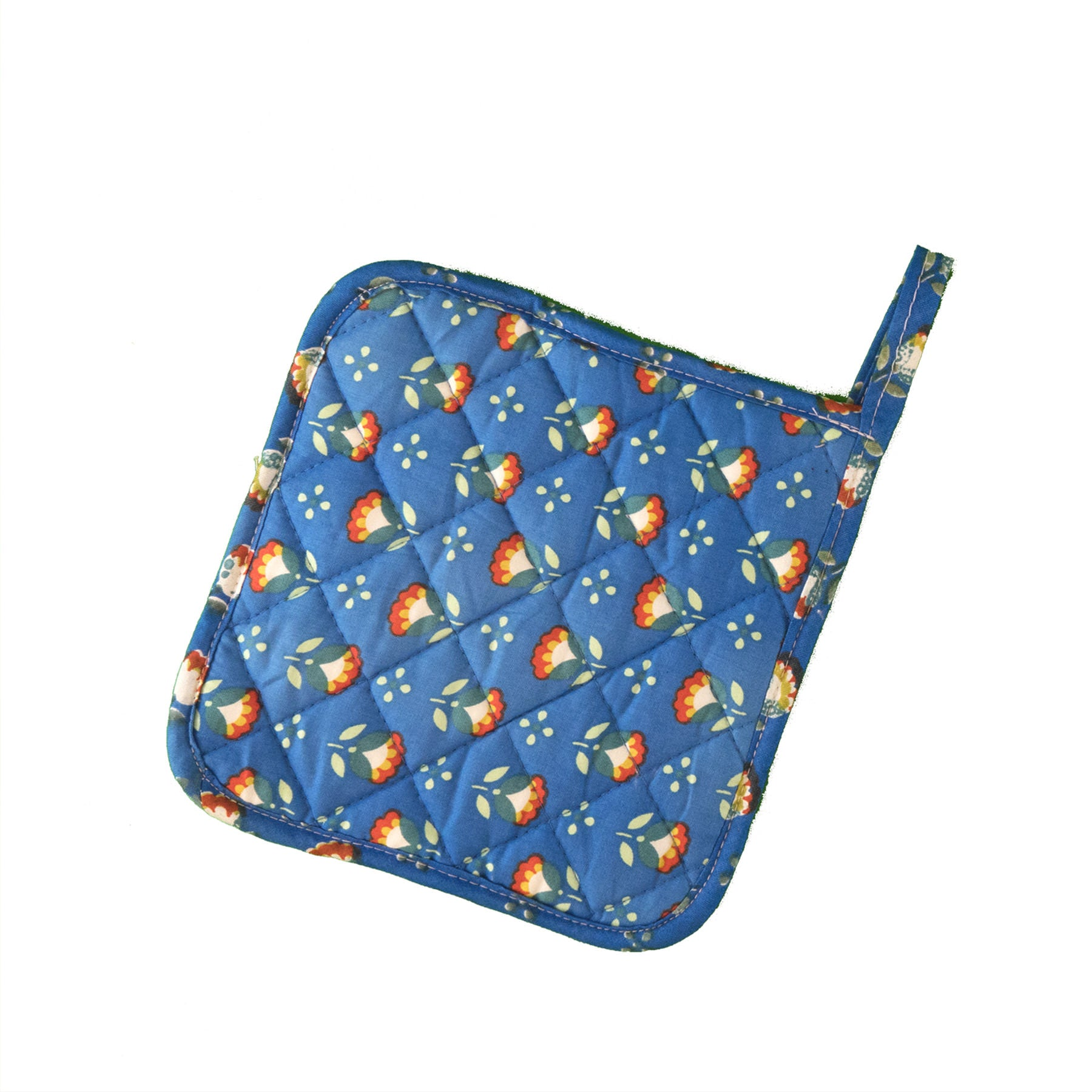 Stitch & Sparkle POT HOLDER 1 Piece Pack, Heat Resistant, 100% Cotton, Modern Scandinavian, MS Sunflower Cobalt