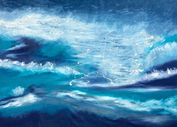 Oil painting, contemporary art, abstract painting, blue painting