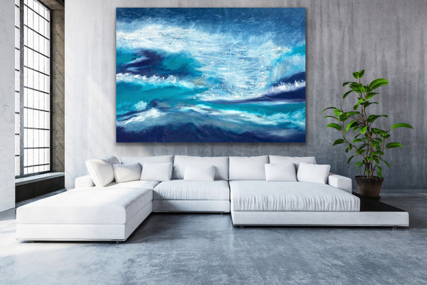 Oil painting, blue painting, abstract painting, contemporary art
