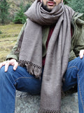 Brown oversized unisex wool throw