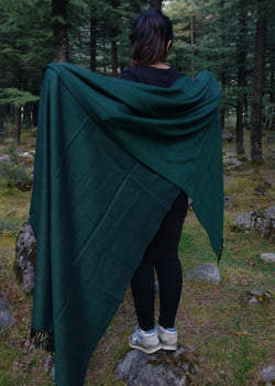 Large dark green wool blanket scarf