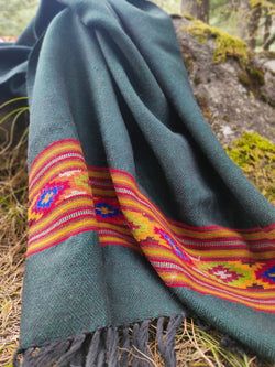 Forest green wool stole