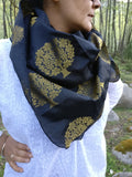 Black and Gold Brocade Square Scarf