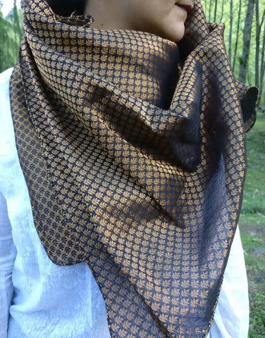 Black and Gold Silk Scarf