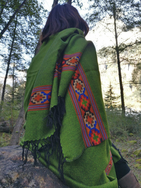 Pure wool moss green blanket scarf