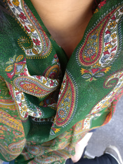 Indian Paisley Chiffon Silk Scarf