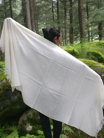 White Angora Wool Shawl