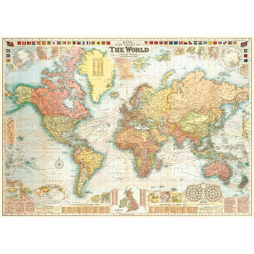 World Map Vintage Print