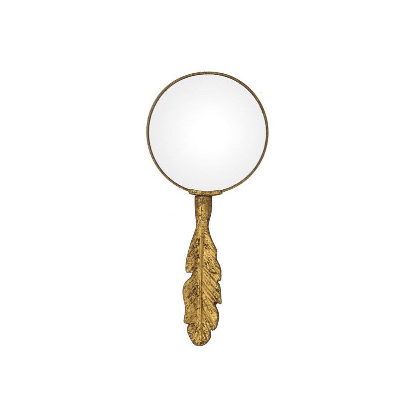 Pewter Magnifying Glass in Gold Leaf - Feather