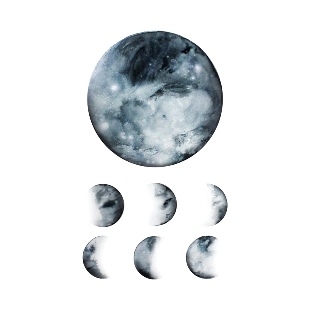 Moon Phases Temporary Tattoos, set of 2