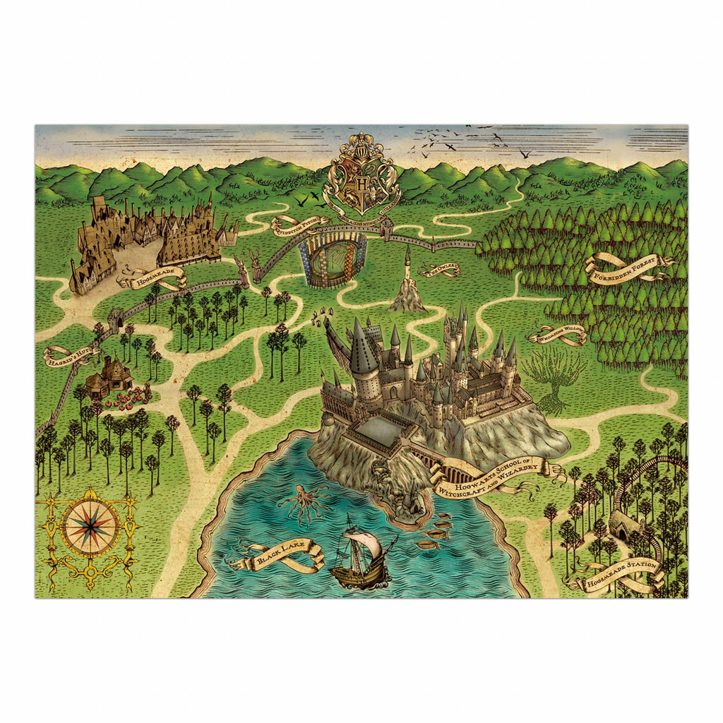 Map of Hogwarts School of Witchcraft & Wizardry Poster