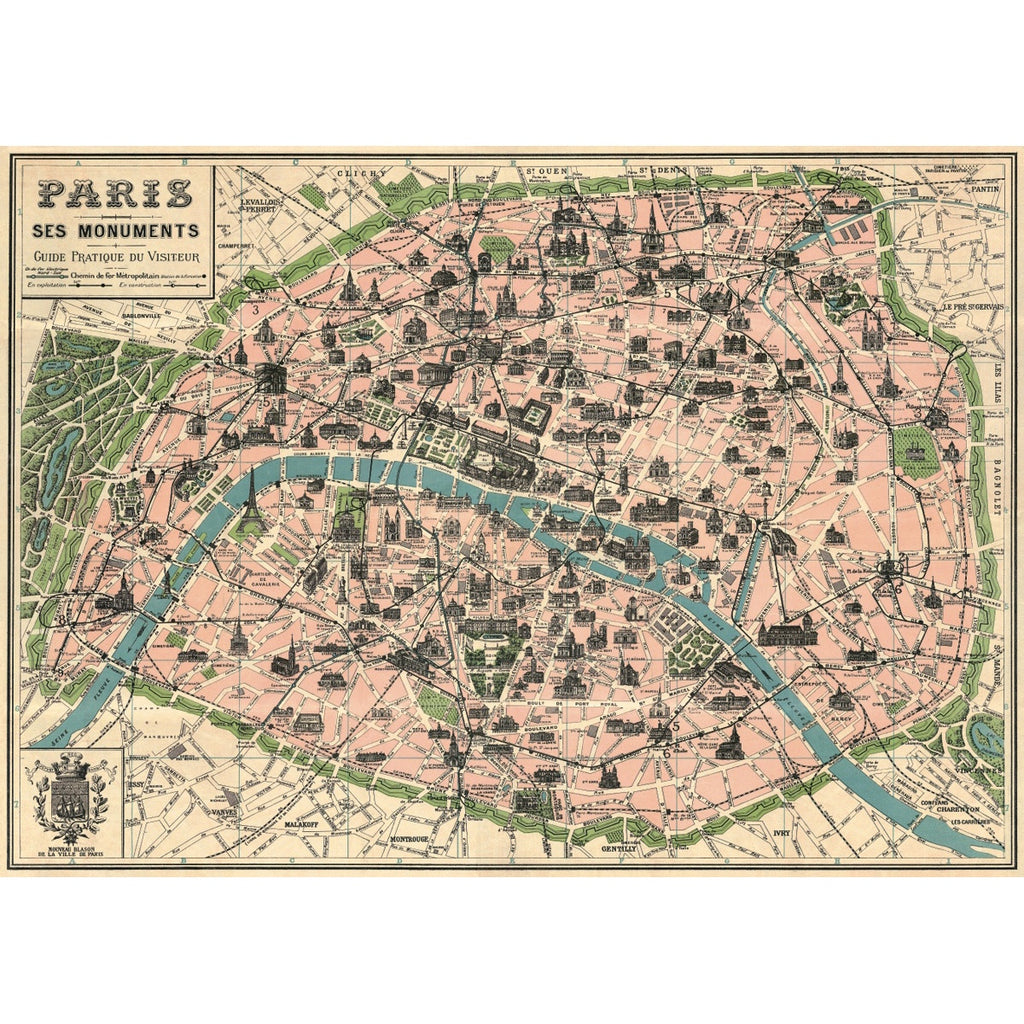 Paris Map Vintage Print