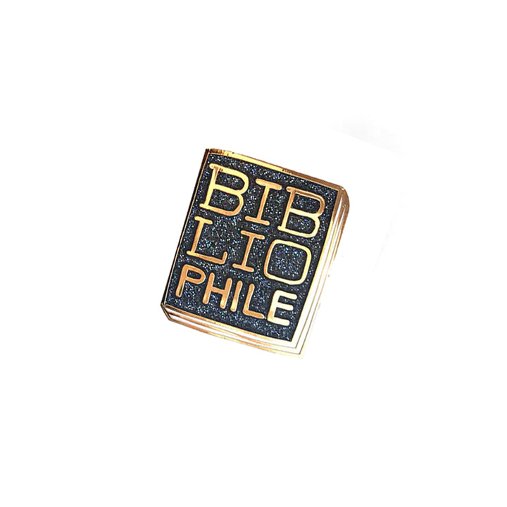 Book Pin - Bibliophile Black Glitter