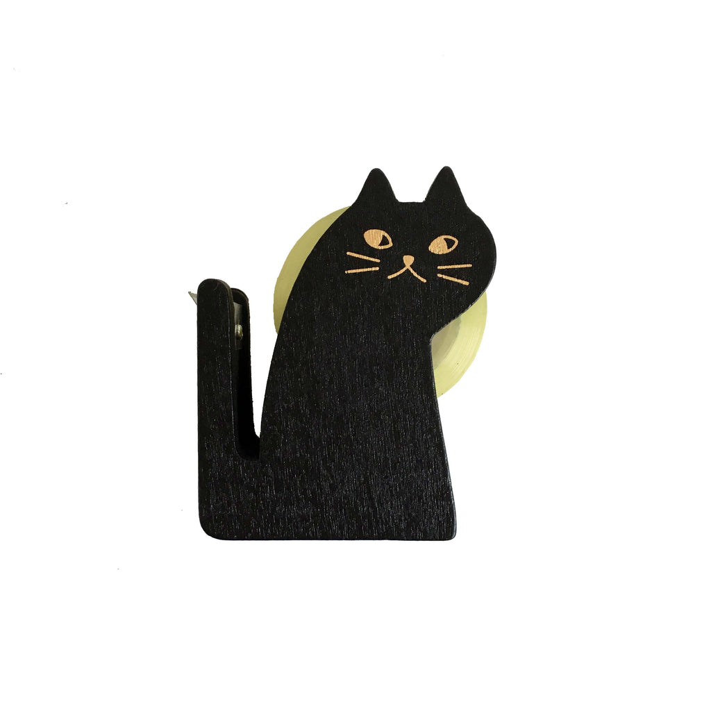 Wooden Black Cat Tape Dispenser
