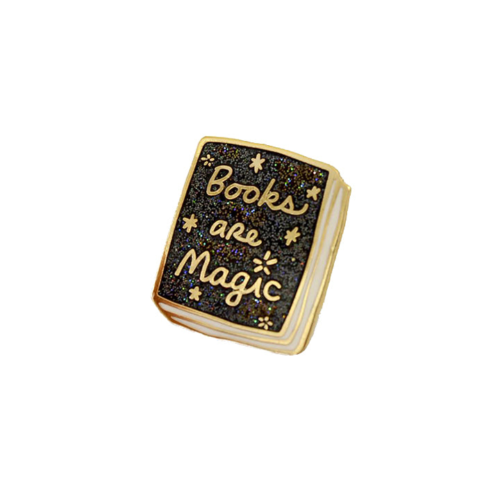 Book Pin - Books Are Magic Black Glitter