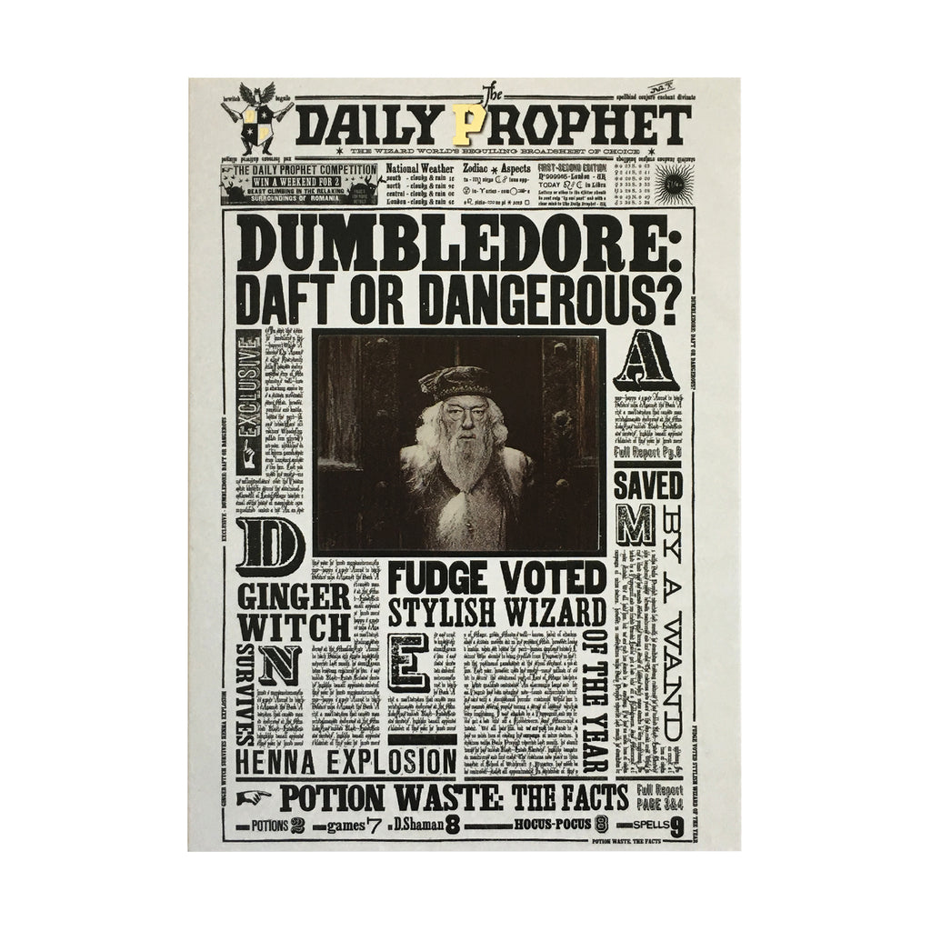 The Daily Prophet - Dumbledore: Daft or Dangerous Lenticular Notecard