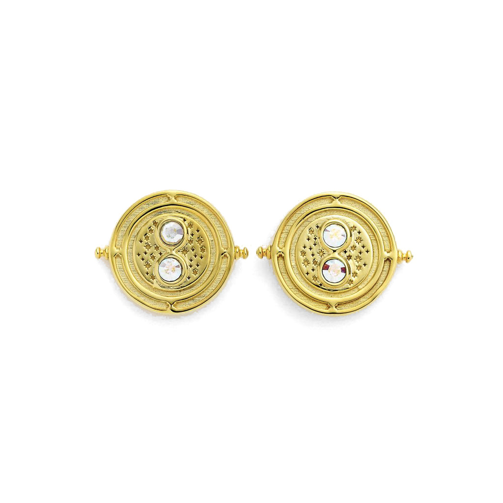 Gold Plated Swarovski Time-Turner Stud Earrings