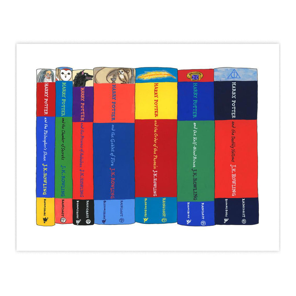 Ideal Bookshelf Art Print - Harry Potter UK Covers