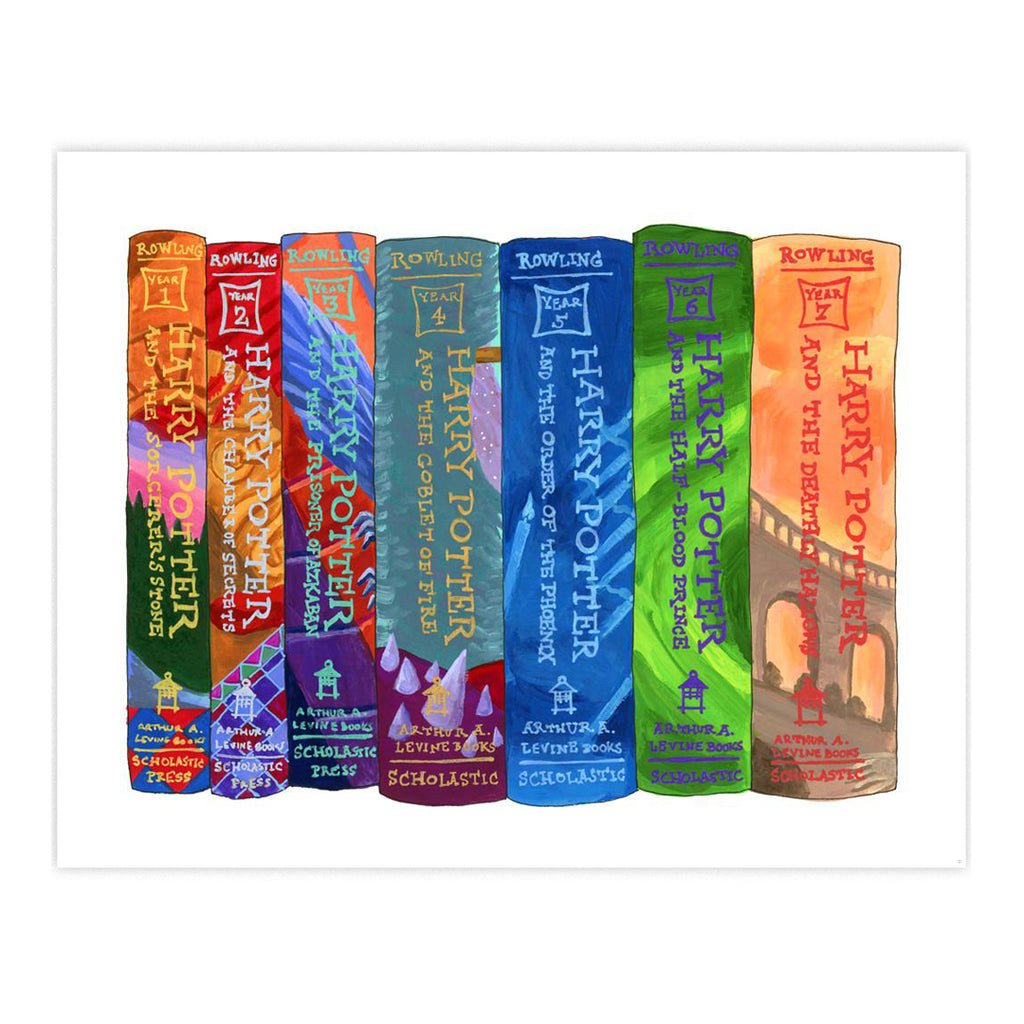 Ideal Bookshelf Art Print - Harry Potter USA Covers