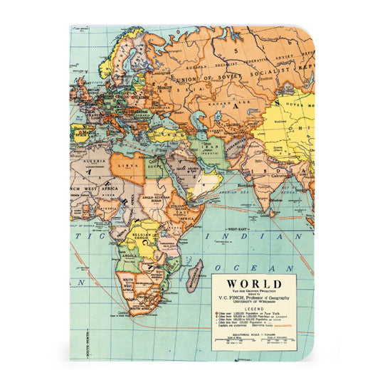 Mini Notebooks, set of 3 - Vintage World Map