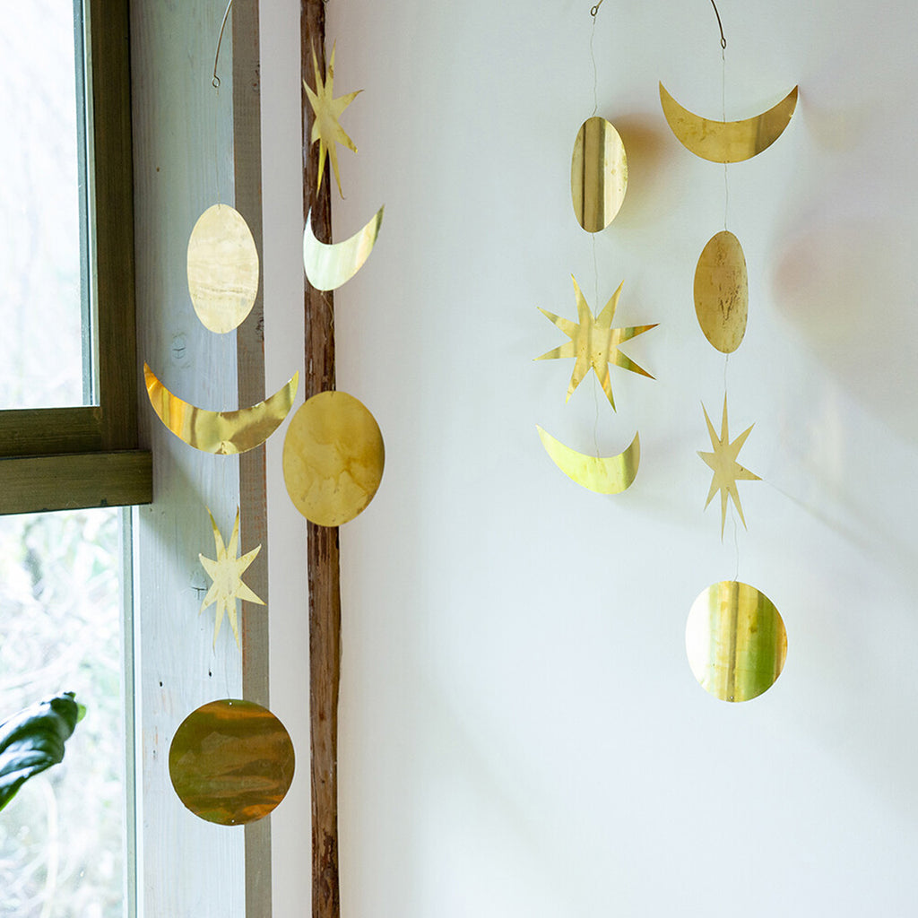 Oversized Brass Star & Moon Mobile