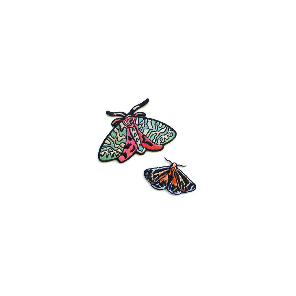 Moth Embroidered Patches, set of 2