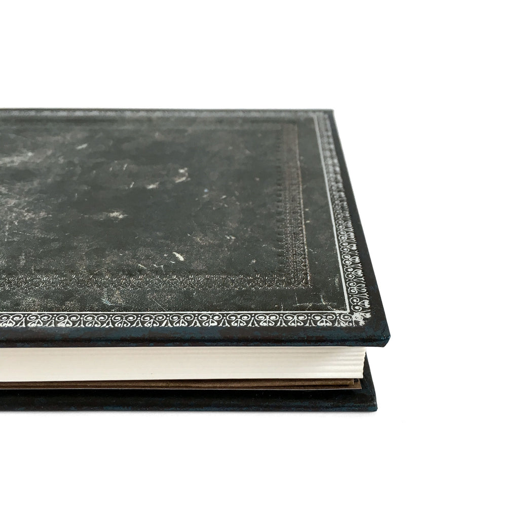 Old Leather Midnight Steel Midi Journal
