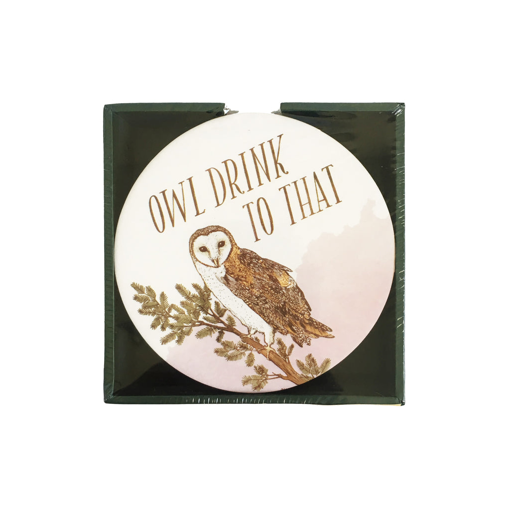 Owl Drink To That Paperboard Coasters