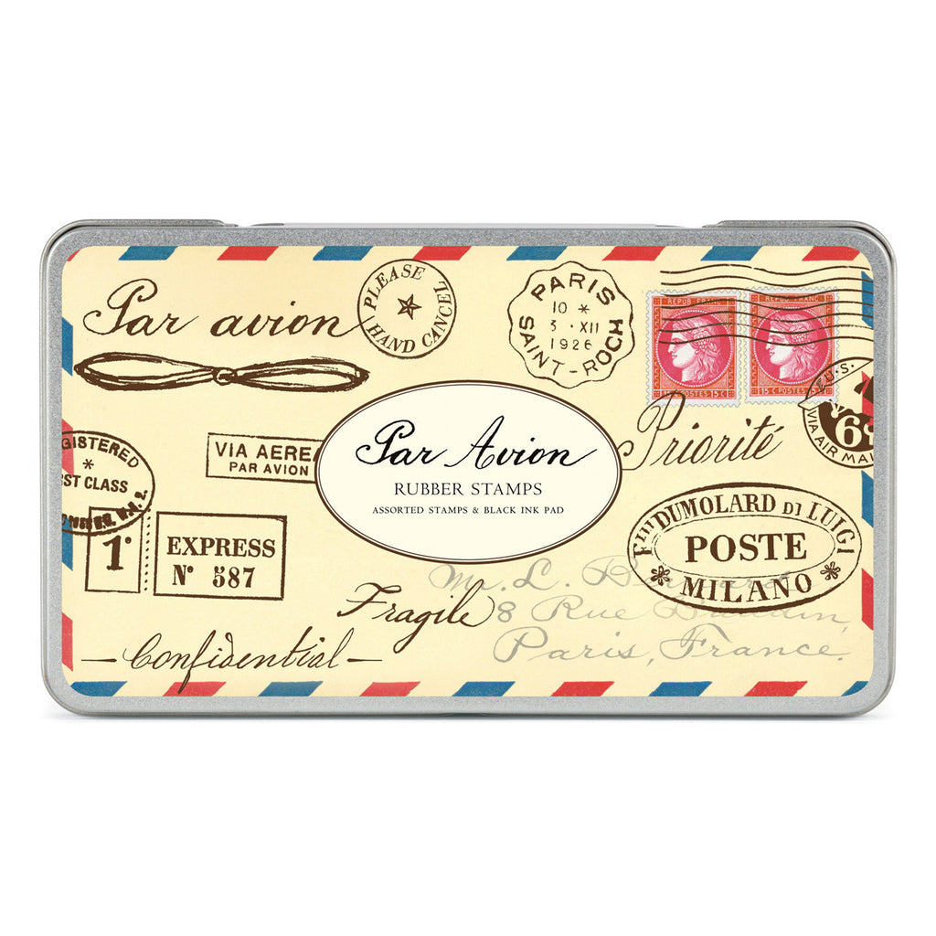 Par Avion Rubber Stamp Set with Ink