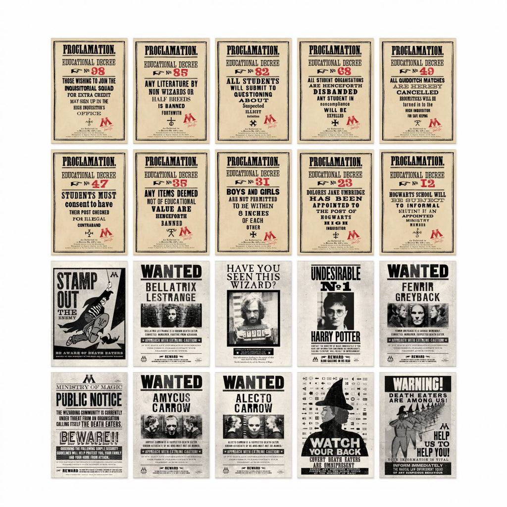 Ministry of Magic Postcards - Proclamations & Wanted Posters Series