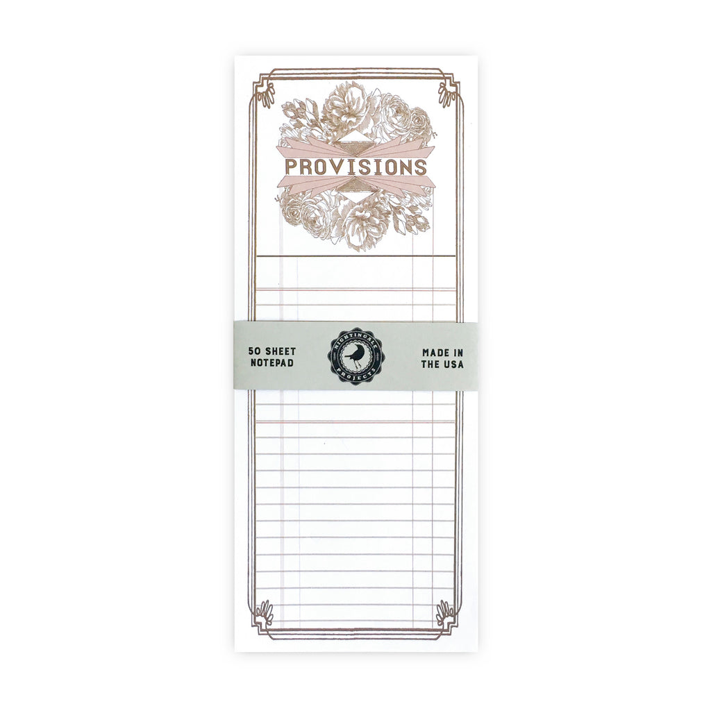 Provisions Notepad