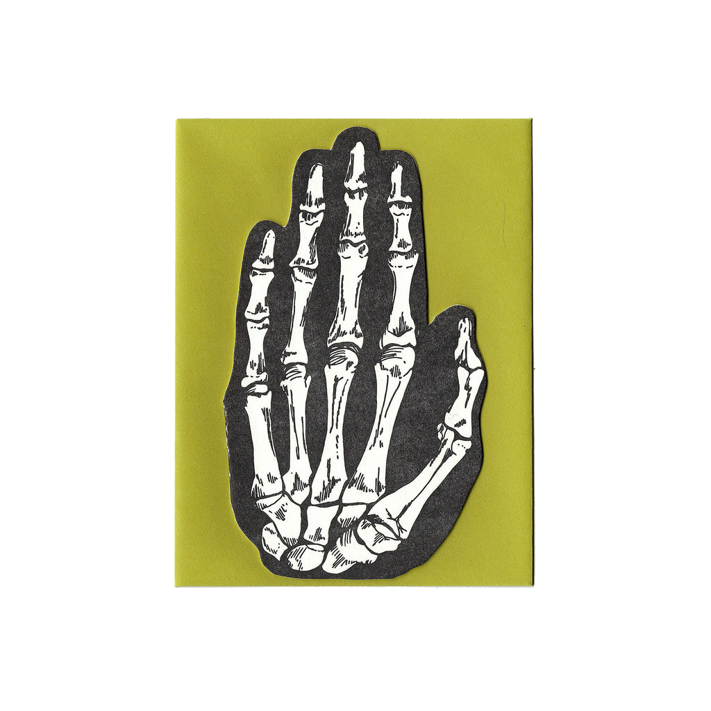 Letterpress Skeleton Hand Card