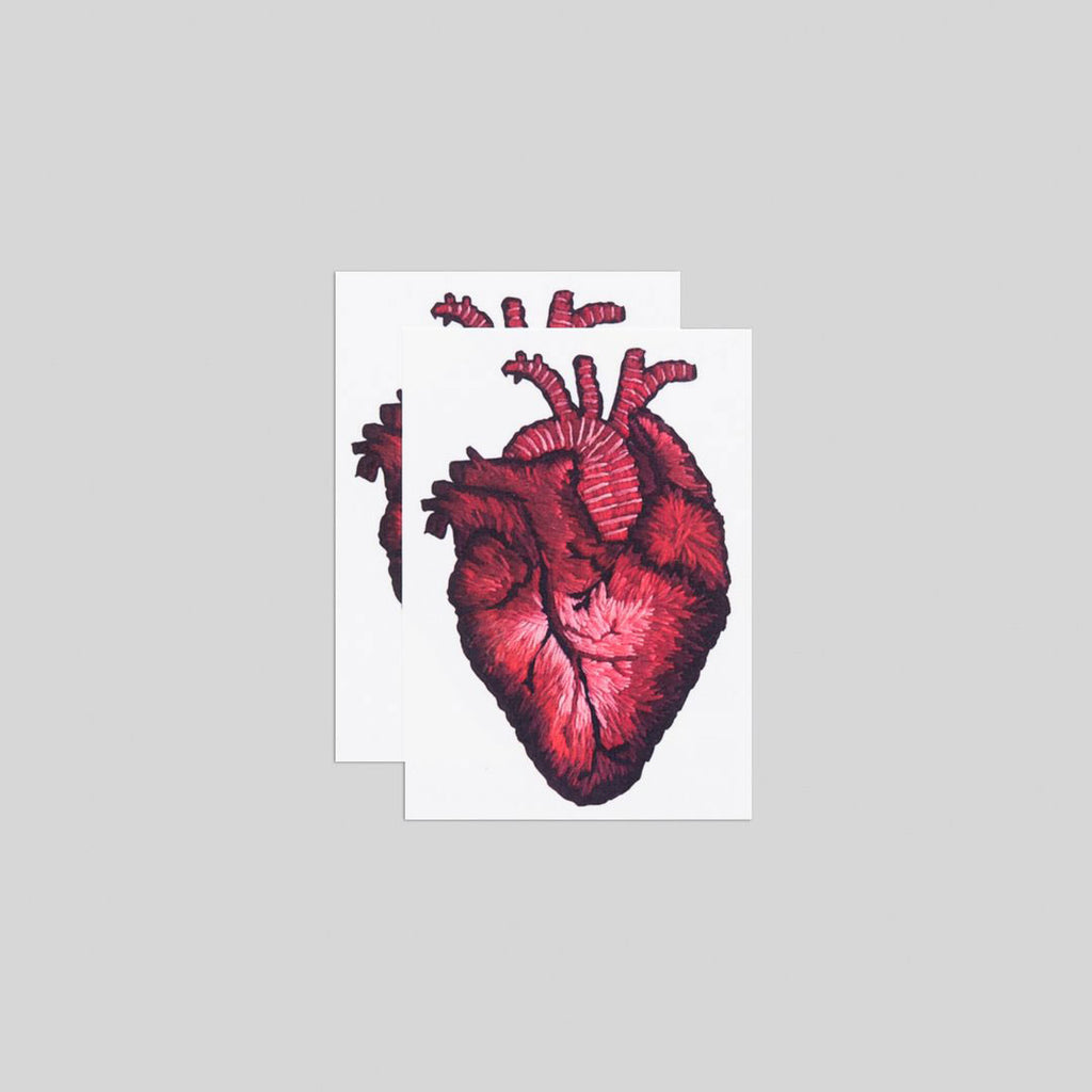 Stitched Heart Tattoos, set of 2