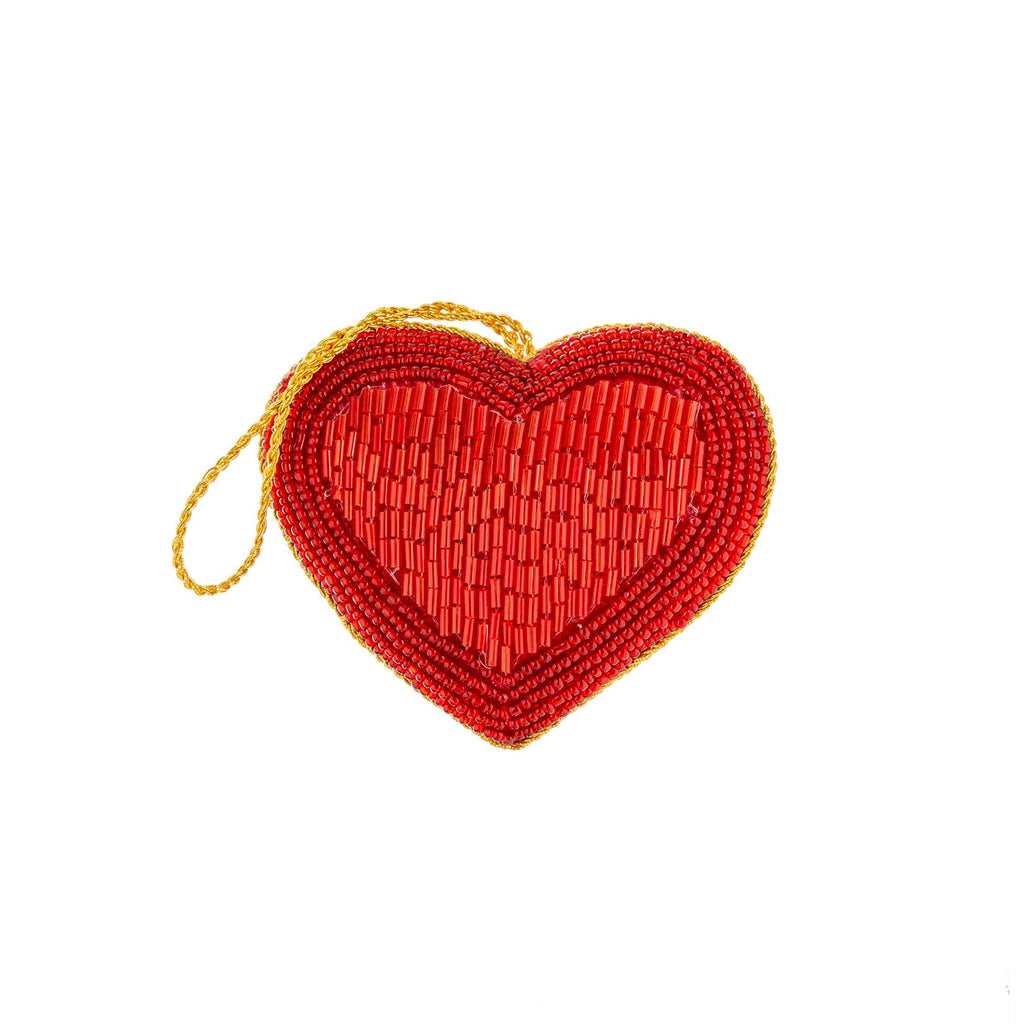 Sweetheart Beaded Plush Ornament