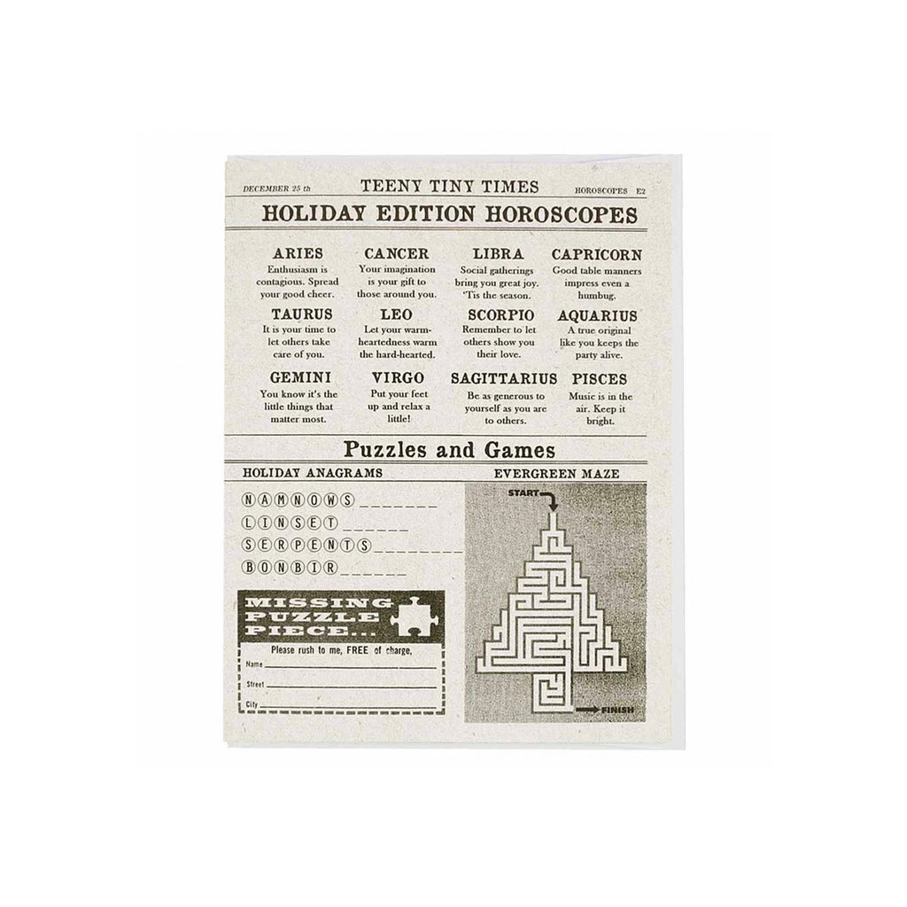 Newspaper Holiday Horoscopes Card
