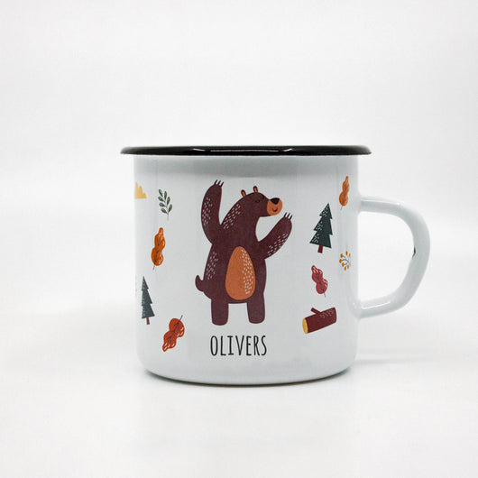 Kids Bear enamel mug with your name 400ml/13.5oz