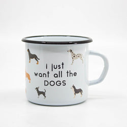 All the dogs enamel mug 400ml/13.5oz