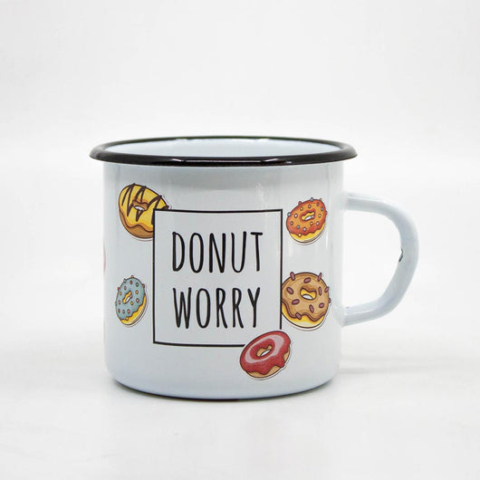 Donut worry enamel mug 400ml/13.5oz