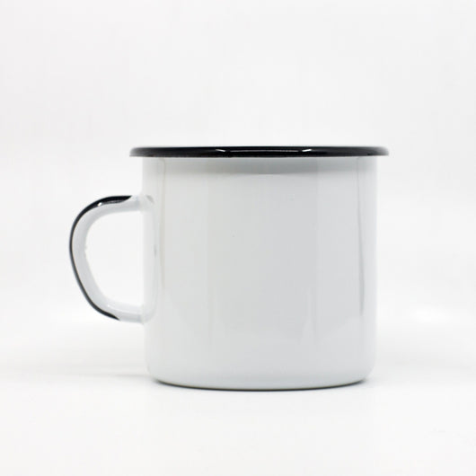 Enamel Mugs - Enamel Mug With Black Handle 400ml/13.5oz