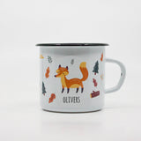 Kids Fox enamel mug with your name 400ml/13.5oz