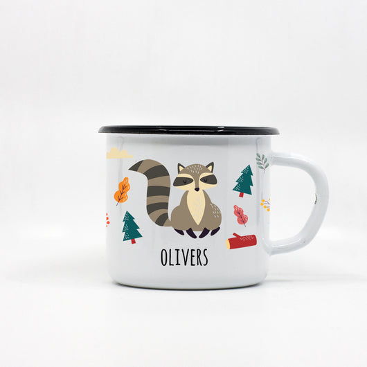 Kids Racoon enamel mug with your name 250ml/8.45oz